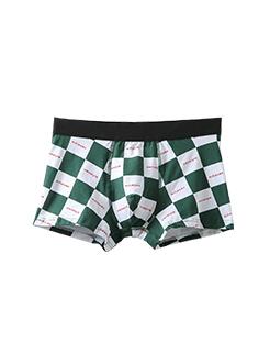 三福 男平角內褲 時尚撞色格子英文印花四角底褲