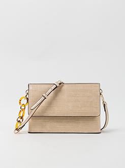 三福2019女夏特材系列PU石头纹链条翻盖磁扣挎包女包