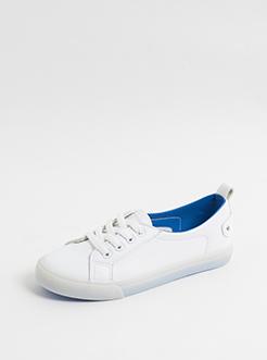 三福2019女夏學院風彩色底低幫淺口經典系帶板鞋女鞋