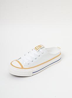 三福2019女夏半拖系列學院風撞色無后跟休閑板鞋女鞋