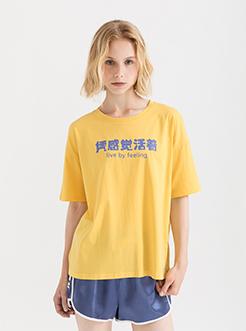 三福2019夏新品女创意印花短袖T恤少女休闲上衣女