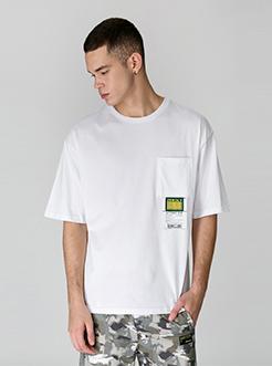 三福2019夏裝新品男口袋貼標短袖T恤 休閑潮流上衣男