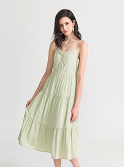 三福2019夏装新品女吊带连衣裙 纯色减龄收腰裙子女
