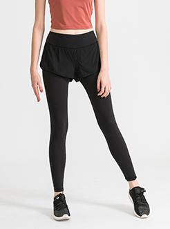三福2019夏裝新品女假兩件瑜伽緊身褲 跑步運動健身褲女