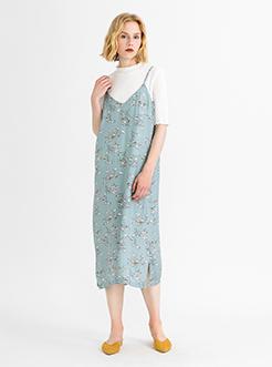 三福2019夏装新品女吊带印花连衣裙 度假风森系长裙女