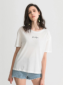 三福2019夏新品女后背镂空短袖T恤英文印花针织上衣女