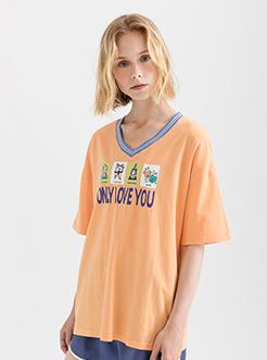 三福2019夏装新品女撞色v领印花短袖T恤 时尚休闲上衣女