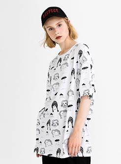 三福2019夏裝新品女滿版印花短袖T恤 街頭潮流上衣女