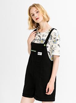 三福2019夏装新品女背带休闲短裤 简约口袋连身裤女