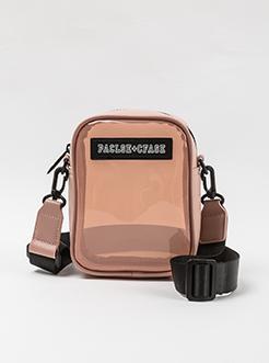 三福2019女夏透明系列宽肩带贴标单肩斜挎包女包
