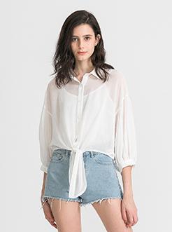 三福2019夏裝新品女燈籠袖外套 中長修身外搭襯衫女