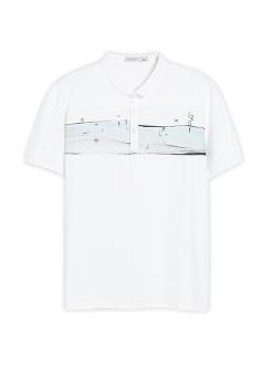 三福2019夏装新品男创意印花POLO衫 翻领短袖T恤男