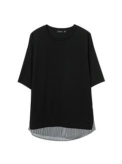三福2019夏装新品男下摆拼接短袖T恤 休闲潮流上衣男