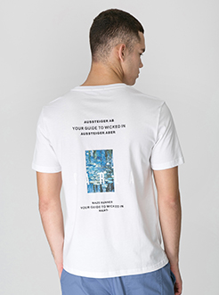 三福2019夏装新品男创意印花短袖T恤 街头潮流上衣男