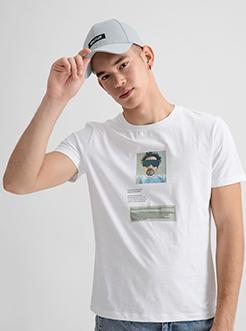 三福2019夏装新品男创意墨镜男印花短袖T恤韩版上衣男