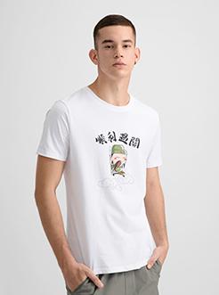 三福2019夏装新品男顺利过关创意印花短袖T恤潮流上衣男