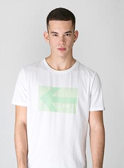 三福2019夏裝新品男撞色箭頭印花短袖T恤街頭潮流上衣男