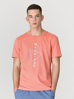 三福2019夏裝新品男幾何線條印花短袖T恤街頭潮流上衣男