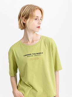 三福2019夏裝新品女英文字母印花T恤 圓領寬松短袖上衣女