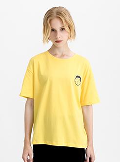 三福2019夏裝新品女人物印花T恤 圓領短袖學生上衣女