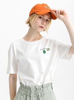 三福2019夏裝新品女水果組合印花T恤 ins潮圓領短袖上衣女