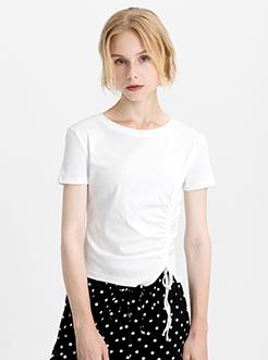 三福2019夏裝新品女純色抽繩收腰T恤 ins圓領短袖上衣女