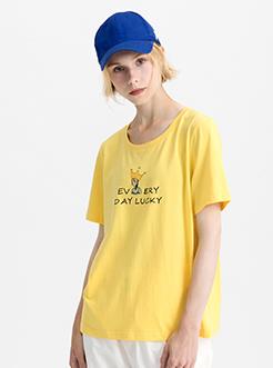 三福2019夏裝新品女刺繡女孩T恤 圓領短袖寬松上衣女