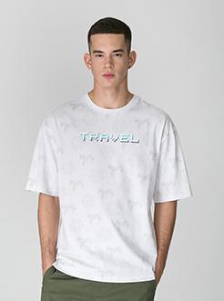 三福2019夏装新品?#26032;?#29256;印花短袖T恤街头时尚上衣男