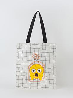 三福2019女夏IP系列趣味emoji表情包帆布包挎包女包