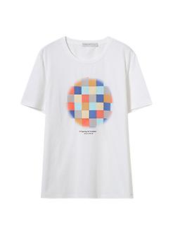 三福2019夏装新品男彩虹印花短袖T恤潮流休闲上衣男