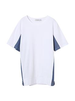 三福2019夏裝新品男側拼牛仔短袖T恤寬松潮流上衣男