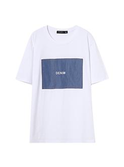三福2019夏装新品男牛仔贴布短袖T恤宽松休闲上衣男