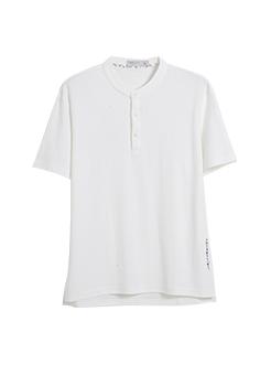 三福2019夏装新品男立领刺绣短袖T恤潮流纽扣上衣男
