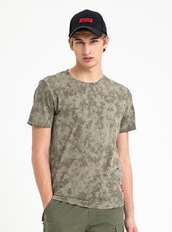 三福2019夏裝新品男撞色貼標短袖T恤時尚潮流上衣男
