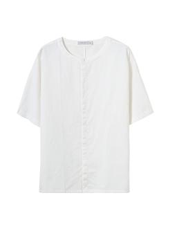 三福2019夏裝新品男簡約立領短袖襯衫時尚潮流襯衣男