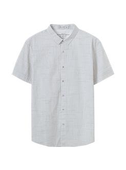 三福2019夏装新品男不规则格子印花短袖衬衫休闲衬衣男