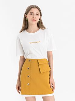 三福2019夏裝新品女撞色連衣裙套裝 T恤裙子兩件套女