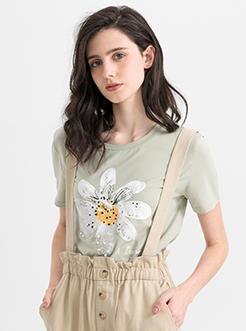 三福2019夏裝新品女水果印花T恤 休閑寬松清新短袖上衣女