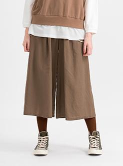 三福2019夏裝新品女闊腿裙褲 時尚高腰純色闊腿褲女
