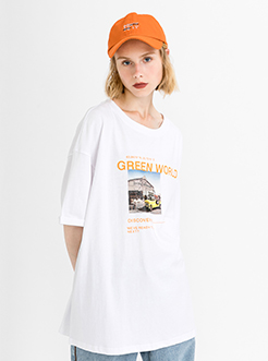 三福2019夏装新品女创意印花短袖T恤 休闲潮流上衣女
