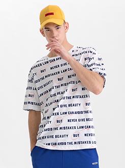 三福2019夏装新品?#26032;?#29256;字母印花短袖T恤休闲时尚上衣男