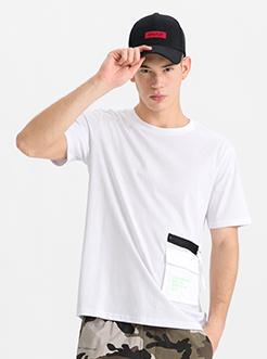 三福2019夏装新品男工装口袋短袖T恤 街头潮流上衣男