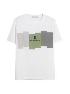 三福2019夏装新品男几何图案短袖T恤 圆领休闲上衣男