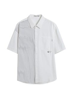 三福2019夏裝新品男韓版條紋拼接短袖襯衫 chic襯衣男