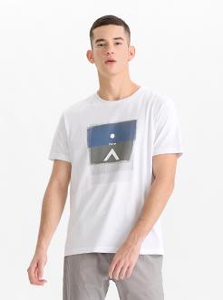 三福2019夏装新品男创意几何印花短袖T恤休闲时尚上衣男
