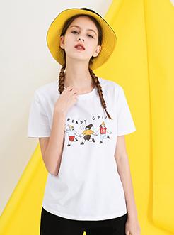 三福2019夏裝新品女休閑短袖T恤 趣味印花上衣女