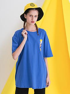 三福2019夏裝新品女休閑寬松短袖T恤 趣味卡通印花上衣女