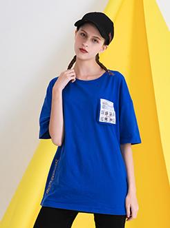 三福2019夏裝新品女創意印花短袖T恤 休閑寬松上衣女