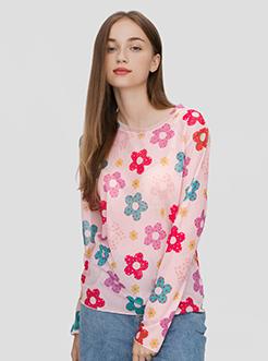 三福2019夏裝新品女學生小清新短袖T恤 彩色印花上衣女