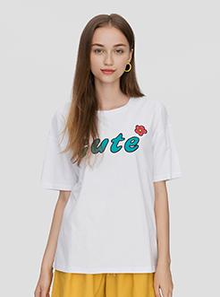 三福2019夏裝新品女學生小清新短袖T恤 字母印花上衣女
